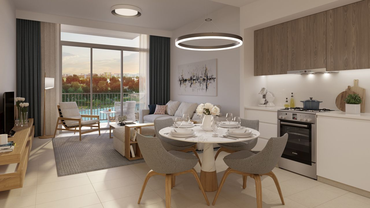 Dubai Park Ridge Apartments Kitchen & Living Area